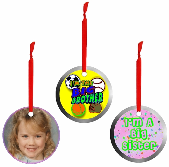 Personalized Aluminum Round Big Brother And Big Sister Ornaments And Gift Tags