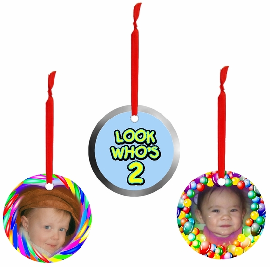PERSONALIZED ALUMINUM ROUND BIRTHDAY ORNAMENTS AND GIFT TAGS