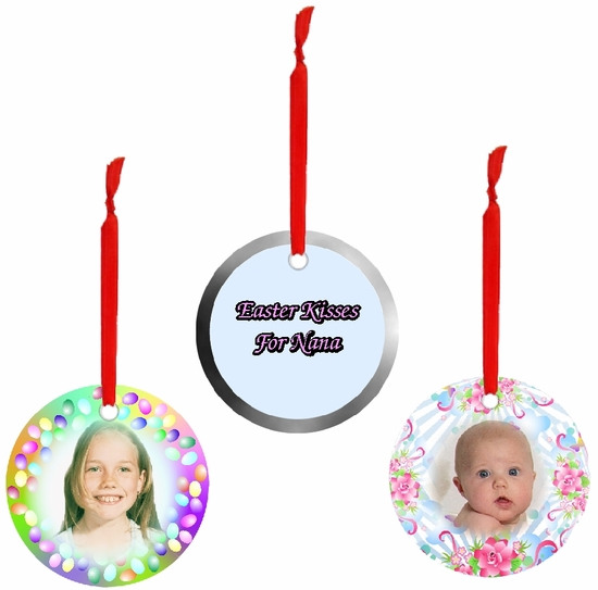 PERSONALIZED ALUMINUM ROUND EASTER ORNAMENTS AND GIFT TAGS