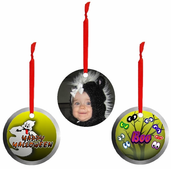 PERSONALIZED ALUMINUM ROUND HALLOWEEN ORNAMENTS AND GIFT TAGS
