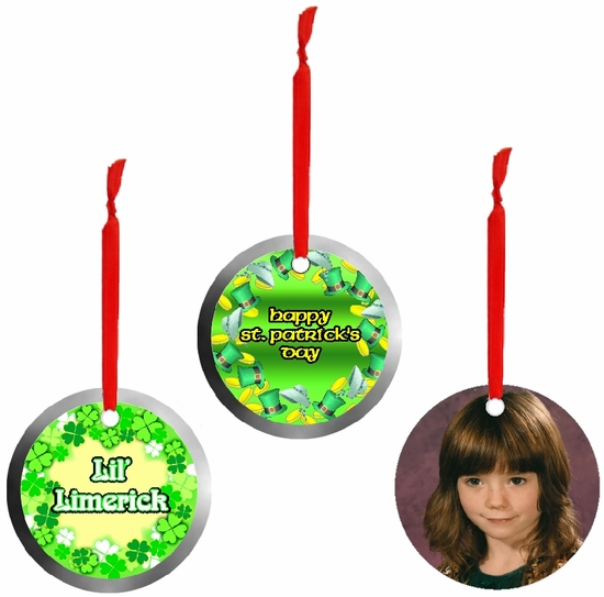 PERSONALIZED ALUMINUM ROUND ST. PATRICK'S DAY ORNAMENTS AND GIFT TAGS