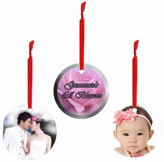 PERSONALIZED ALUMINUM ROUND VALENTINE AND CELEBRATIONS OF THE HEART ORNAMENTS AND GIFT TAGS