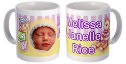 Personalized Baby Girl Bear And Blocks Photo Mug