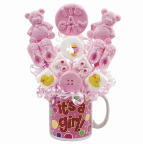 Personalized Baby Girl Lollipop Bouquet In Mug