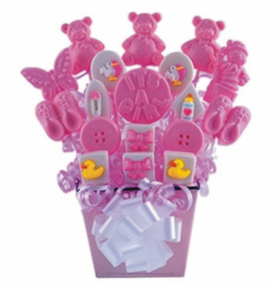 Personalized Baby Girl Lollipop Bouquet In Tin
