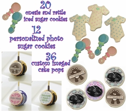 Personalized Baby Shower Cookie And Cake Treats Party Bundle