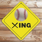 Personalized Baseball Crossing Caution Sign