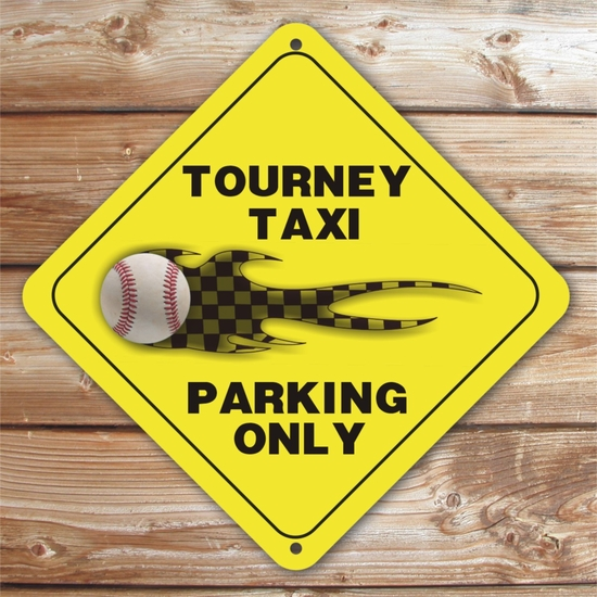 Personalized Baseball Tourney Taxi Parking Sign