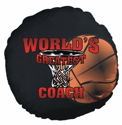 Personalized Basketball Net Round Throw Pillow