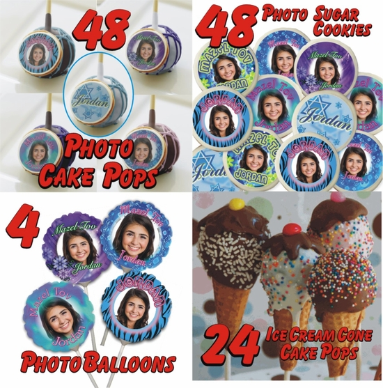 Personalized Bat Mitzvah Cookie And Cake Treats Party Bundle 2