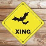 Personalized Bats Crossing Halloween Sign