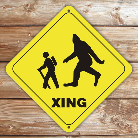 Personalized Big Foot And Hiker Crossing Caution Sign