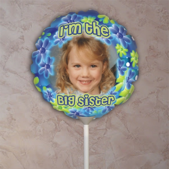 Personalized Big Sister Flower Photo Balloon