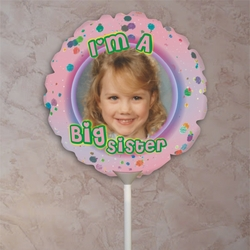 Personalized Big Sister Speckled Pink Photo Balloon
