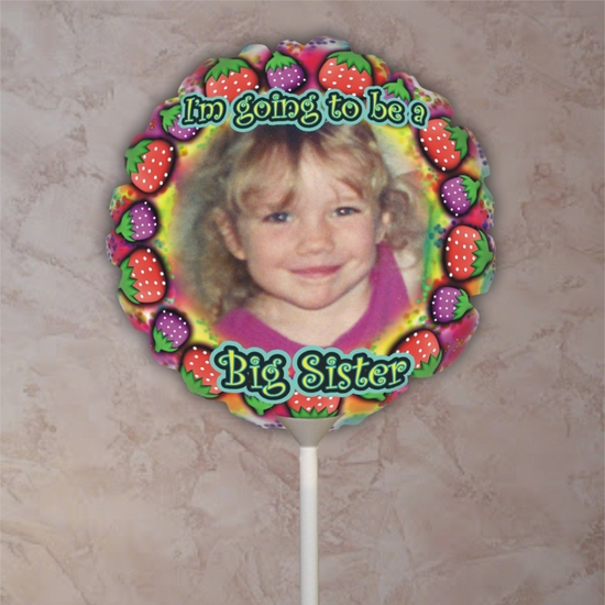 Personalized Big Sister Strawberry Photo Balloon