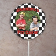 Personalized Black And White Checkered Round Photo Balloon