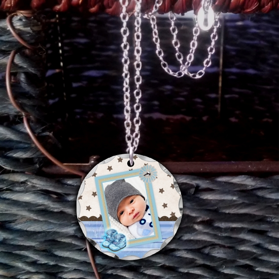 Custom Baby Boy Photo Necklace Gift With Blue Shoes/Stars/Stripes For New Mom, Grandma, Big Sister