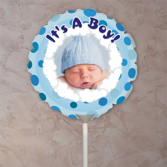 Personalized Blue Polka Dots Baby Photo Balloon