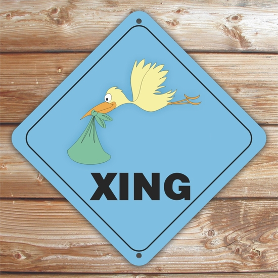Personalized Blue Stork Crossing Sign