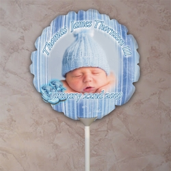 Personalized Blue Striped Baby Photo Balloon