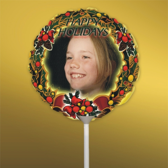 Personalized Bows And Berries Christmas Photo Balloon