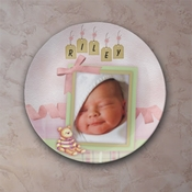 Personalized Buttons And Bears Pink Porcelain Photo Plate