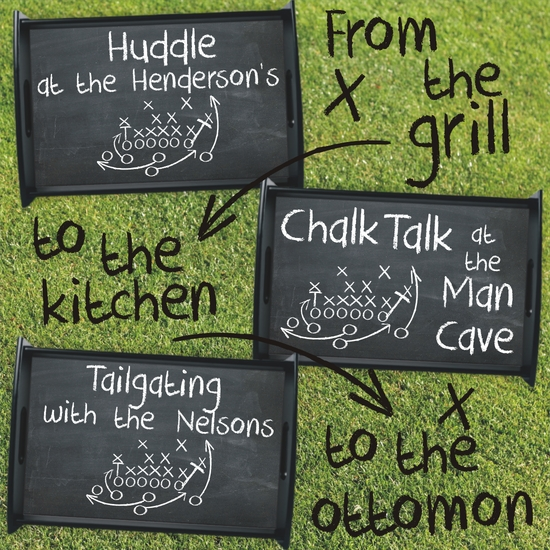 Personalized Chalkboard Football Serving Tray