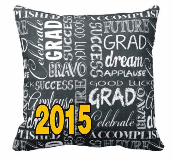 Personalized Chalkboard Graduation Square Throw Pillow