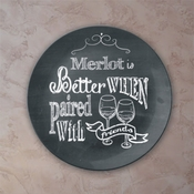 Personalized Chalkboard Paired With Friends Wine Porcelain Plate