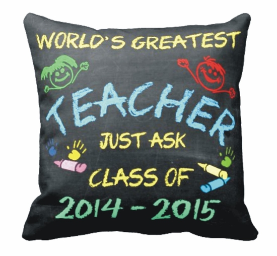 Personalized Chalkboard Teacher Square Throw Pillow