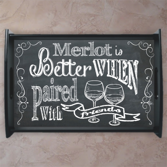 Personalized Chalkboard Wine and Cheese Serving Tray
