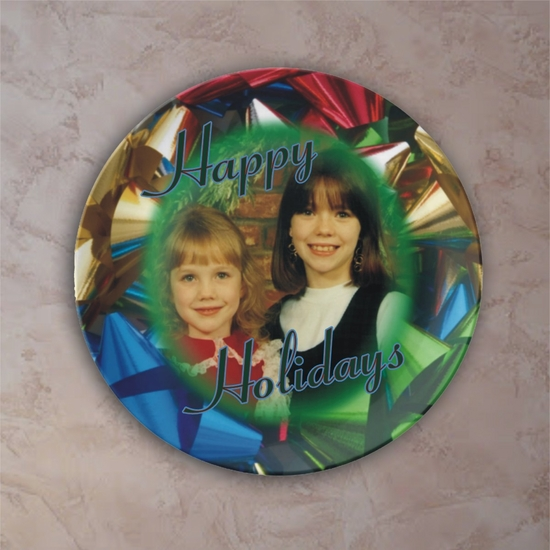 Personalized Christmas Bows Porcelain Photo Plate