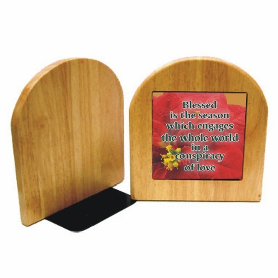 Personalized Christmas Maple Bookends