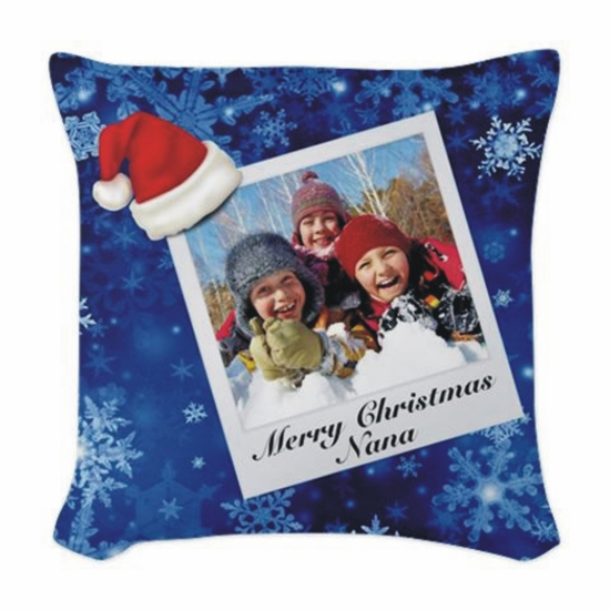 Personalized Christmas Polaroid Photo Throw Pillow