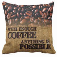 Personalized Coffee Bean Square Throw Pillow