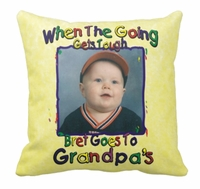 Personalized Colorful Kid Writing Photo Square Throw Pillow