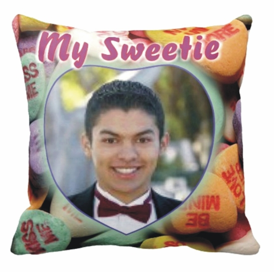 Personalized Conversation Hearts Valentine Photo Square Throw Pillow