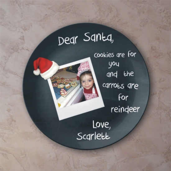 Personalized Cookies For Santa Chalkboard Christmas Porcelain Photo Plate
