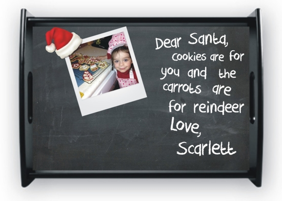 Personalized Cookies For Santa Chalkboard Christmas Serving Tray