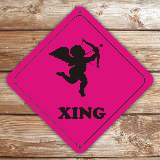 Personalized Cupid Crossing Valentine Sign