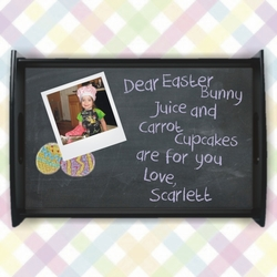 Personalized Easter Bunny Chalkboard Snack Tray