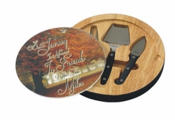 Personalized Fall Trees Glass Top Round Cutting Board With Tool Set