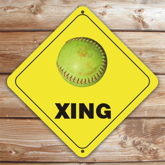 Personalized Fastpitch Softball Crossing Caution Sign
