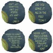Personalized Fastpitch Softball Motivational Chalkboard Round Throw Pillow