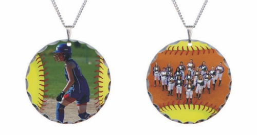 Personalized Fastpitch Softball Photo Necklace