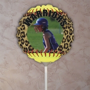 Personalized Fastpitch Softball Seams Leopard Photo Balloon