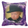 Personalized Field Of Purple Flowers Photo Square Throw Pillow