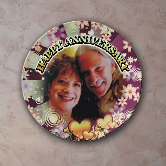 Personalized Flower Bursts With Hearts Porcelain Photo Plate