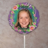 Personalized Flower Trellis Purple Photo Balloon
