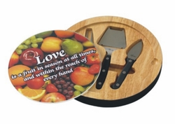 Personalized Fruit Glass Top Round Cutting Board With Tool Set
